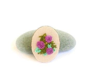 Embroidered jewelry Boho jewelry Flower brooch Embroidered brooch Flower jewelry Gift for her Mother day Rustic jewelry Eco friendly