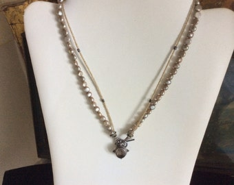 Vintage Double Strand Necklace, Artisan Made, Pearl and Stone