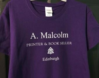 Short Sleeve Outlander T-Shirt - A. Malcolm Printer & Book Seller - Jamie Fraser - Claire Fraser - Sassenach - Outlander Tee