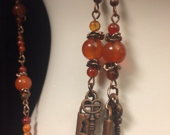 Steampunk Jewelry: Necklace and Earrings - Carnelian