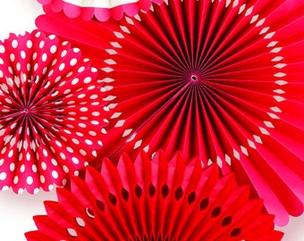 Red Party Fan Set / Red Fans / Party Fans / Paper Fans / Red Party Decor / Hanging Decor