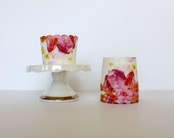 Pink Floral Treat Cups / Pink Treat Cups / Treat Cups / Baking Cups / Floral Treat Cups / Pink Treat Cup / Floral Escape
