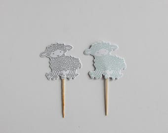 Little Lamb Cupcake Toppers (set of 12)/ Cupcake Toppers / Little Boy Blue Cupcake Toppers / Baby Shower / Boy Baby Shower