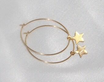 Star Earrings, Star Hoop Earrings, Hoop Star Earrings, Hoop Earrings, Star Earrings, Gold Filled Hoops, Minimalist Jewelry, Boho Jewelry.