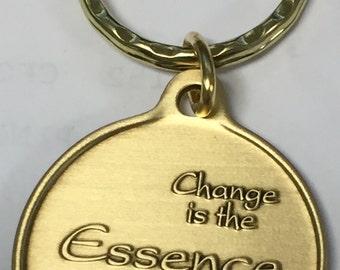 Change Is The Essence of Life Bronze Serenity Prayer Keychain