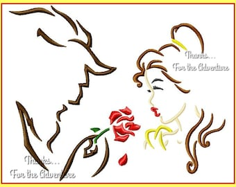 Princess Belle and the Beast with the Magic Rose from Beauty and the Beast Sketch Digital Embroidery Machine  Design File 4x4  5x7 6x10