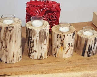 Candle holder set of spalted pecan