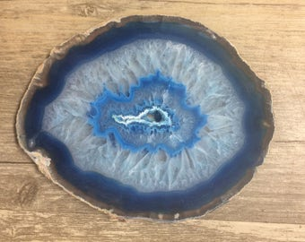 Blue Agate Coaster Set with Natural Polish for Decoration, Design, and Arts & Crafts