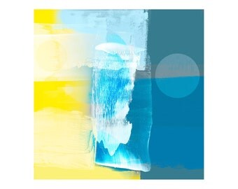 """Blue & Yellow Abstract Style Fine Art Print - Art For Home Or Office Contemporary Decor, Gallery Wall Art, Large Size Print Up To 28"""" x 28"""""""