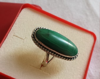 Malichite Taxo Mexico Vintage Sterling Ring