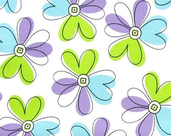 Brother Sister Design Studio Flower Power floral heart fabric - White - Per 1/2 metre - 100% Cotton