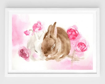 """Original watercolor,""""together""""N.5,two bunnies,rabbit,friendship,love,pet painting,8""""3x11""""7,home decor"""