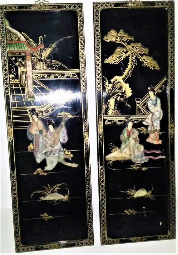 Asian Macau Black Lacquer Mother Of Pearl Raised Carvings