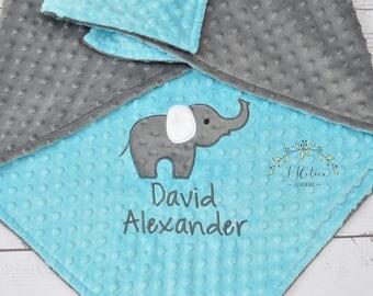 Personalized Baby Minky Blanket-Elephant baby blanket-Personalized Elephant Minky blanket-Minky Elephant Blanket-Boy Girl Minky baby blanket