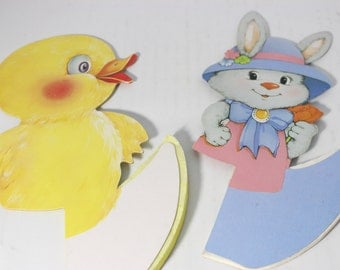 Honeycomb Paper CenterPiece Easter Bunny Rabbit and Chick (2 Pieces)