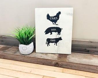 Kitchen Sign, Cluck Oink Moo Kitchen Sign, Wood Sign, Kitchen Decor, Farmhouse Decor, Vintage Sign, Home Decor, Children Room Decor, Animals