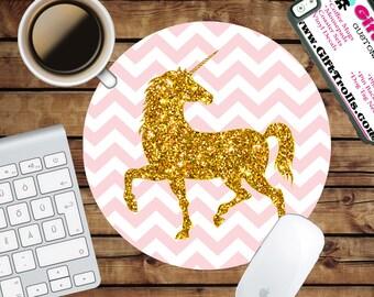 Pink Chevron - Gold Glitter Unicorn Circle Mouse Pad - Mousepad - CoWorker Teacher Gift