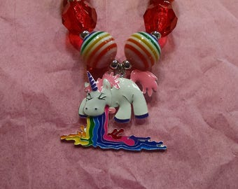 Unicorn and Rainbow Girls Chunky Bubblegum Necklace.  Vomiting Rainbow Unicorn Gumball Necklace