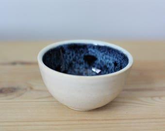 Small White and Blue Ceramic Bowl – Handmade Bowl – Small Ceramic Dish – Small Bowl – Dipping Bowl