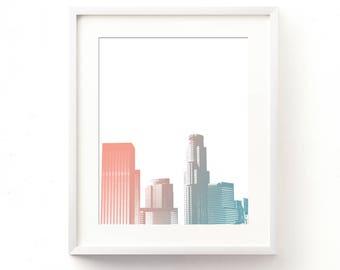 Los Angeles nursery printable, downtown LA skyline wall art, baby blue and pink baby shower download, jpg files, California girls room art