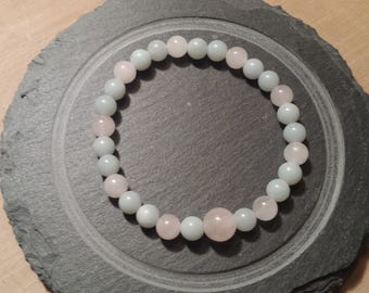Sacred Love and Calm Wrist Mala - Rose Quartz and Amazonite