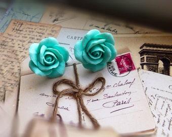 Mint green earrings Pastel earrings Stud earrings Bridal Earrings Wedding Earrings Bridesmaid Earrings
