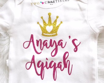Aqiqah baby shirt, Aqeeqah, Aqeeqa princess bodysuit or t-shirt, eid gift, muslim clothing, party wear, islamic clothing, new muslim baby