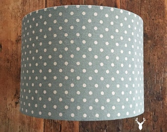 Custom Handmade Lampshade Country Vintage Style Duck Egg Blue Spot Polka Dot Dotty Print Linen - 20/30/40cm drum lamp shade