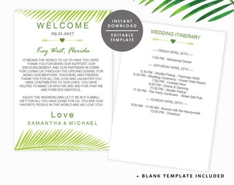 Tropical Welcome Note, Destination Wedding Welcome note, Beach Welcome letter, Palm Leaves, Template Kit, Instant Download, GD_WT113