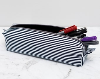 Navy blue and White Striped Box Pencil Case / Zippered Pouch / Brick Pencil case / cube pencil case