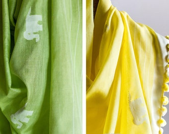 Scarf - Handloom Silk Cotton - Jamdani | Animal Motifs | Available Colours: Green | Yellow