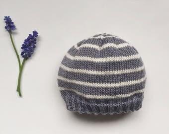 Merino Wool Baby Hat, Knitted Blue Striped Baby Hat, Newborn Knit Hat, Baby Boy Hat, Baby Girl Hat, Coming Home, Newborn Photo Prop Hat