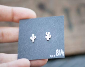 Little Sterling Silver Cactus Earrings, Profits Donated to The Wilderness Society