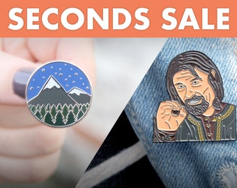 SECONDS - 'Mountain Top Hard Enamel with glitter snow tops' and LOTR 'One does not simply...Boromir Soft Enamel' enamel pin/lapel pin