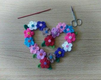 HEART of FLOWERS wreath crochet handmade