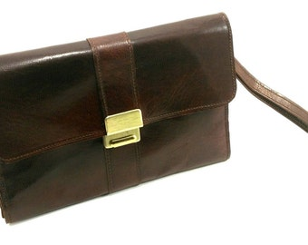 Pocket wallet leather Burgundy patina Vintage