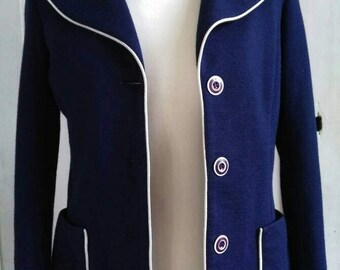 Two-buttons blue night vintage tailored jacket / tailored blazer