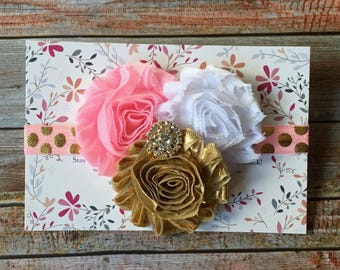 Pink and Gold Headband/Infant Headband/Pink and Gold Baby Headband/Baby Girl Headband/Pink Headband/Toddler Headband/Gold Baby Headband/Baby