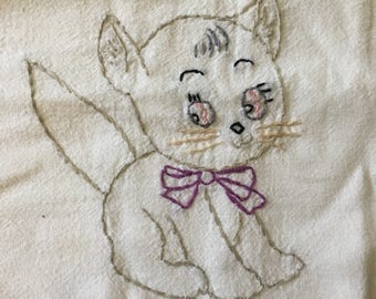 Vintage Embroidered Tea Towel featuring Small Kitten With Purple Bow