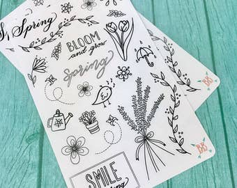Spring Doodle Stickers