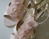 10/ Blush Pink Organza Ruffle Bridal Shoes / Open Toe Strappy / Floral Organza Front / Ankle Strap / Wedding / 10 / Gold Lined Pumps / Sweet