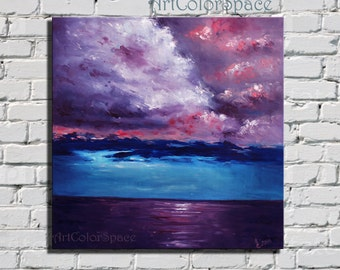 Seascape  painting on canvas Ocean painting Ocean Art Thunderclouds Sea painting Cloudscape painting Seascape canvas Seascape Wall Art