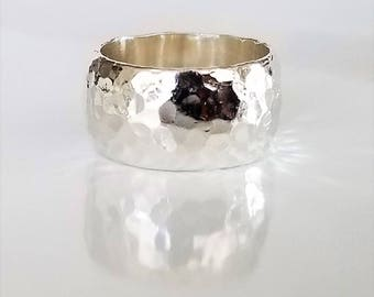 Silpada Sterling Silver Hammered Wide Cigar Band Ring, R1343 Retired, HTF, Size 8