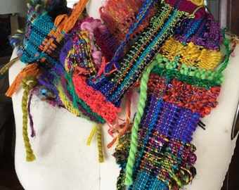Hand Woven Saori Skinny Necklace Scarves