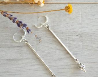 Long Silver Flower Earrings, 925 silver leverback earrings, 925 silver dangle boho summer earrings, stud earrings, Free people earrings