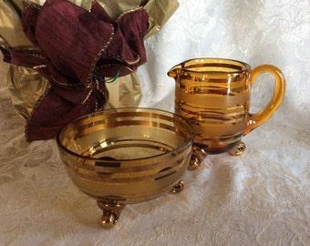 Vintage Bohemian creamer sugar set amber glass mid century Czech fine glass