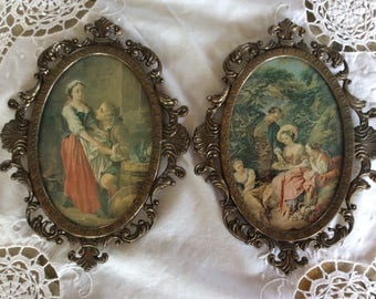 """Nice pair of vintage 8"""" Italian metal frame convex glass courting scene picture"""