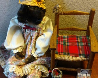 Taxidermy country antique rag doll with chair