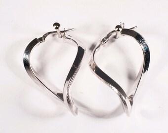 14K White Gold Swirl Hoop Style Earrings