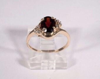 14K Yellow Gold Garnet and Diamond Chip Ring, size 6.75
